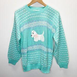 VTG Village Green Scottie Dog Fair Isle Sweater